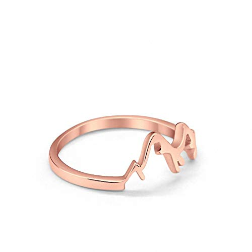 Mountain Band Ring Rose Tone 925 Sterling Silver