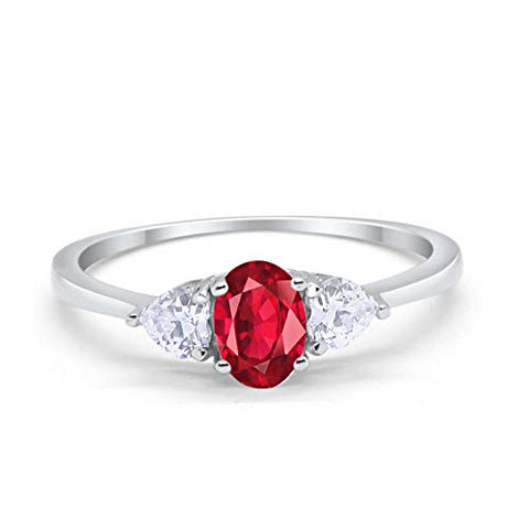 3-Stone Fashion Promise Ring Oval Simulated Ruby CZ 925 Sterling Silver