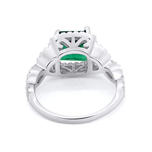 Halo Cushion Cut Wedding Bridal Ring Round Simulated Emerald CZ 925 Sterling Silver