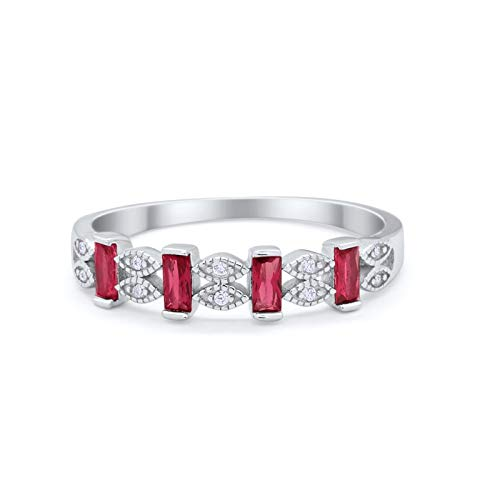 Eternity Baguette Ring Simulated Ruby CZ 925 Sterling Silver