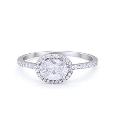 Sideways Halo Engagement Ring Round Simulated Cubic Zirconia 925 Sterling Silver