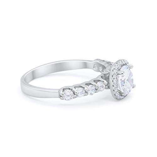 Accent Wedding Bridal Ring Simulated Cubic Zirconia 925 Sterling Silver