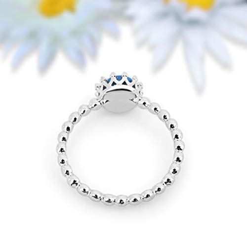 Solitaire Fashion Bead Ball Ring Round Lab Created Blue Opal 925 Sterling Silver