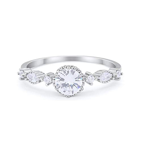 Petite Dainty Wedding Ring Simulated Cubic Zirconia 925 Sterling Silver