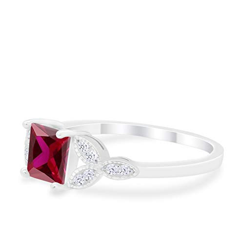Art Deco Design Engagement Ring Princess Cut Simulated Ruby CZ 925 Sterlig Silver