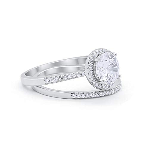 Two Piece Bridal Wedding Ring 925 Sterling Silver Simulated CZ