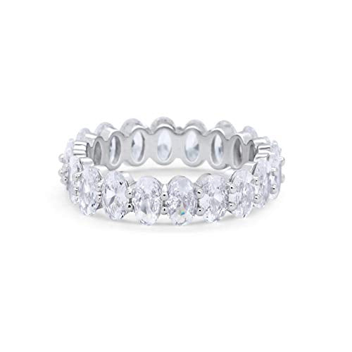 Full Eternity Ring Oval Simulated Cubic Zirconia 925 Sterling Silver