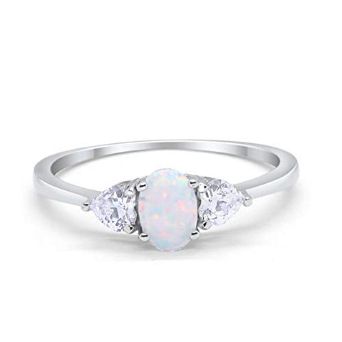 3-Stone Fashion Promise Ring Oval Lab White Opal 925 Sterling Silver