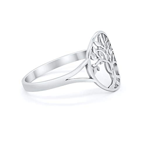 Tree of Life Ring Oval Split Shank 925 Sterling Silver