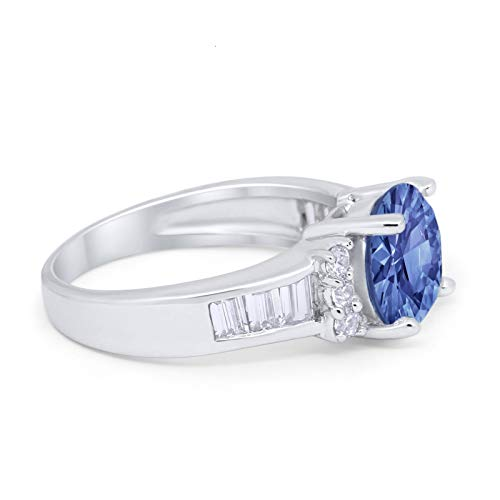 Engagement Baguette Stone Ring Simulated Tanzanite CZ 925 Sterling Silver