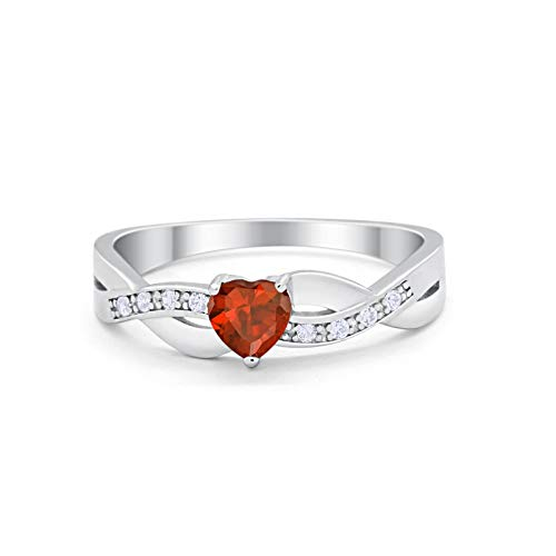 Accent Heart Shape Wedding Ring Simulated Garnet CZ 925 Sterling Silver