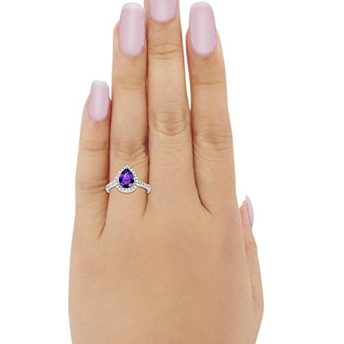 Halo Teardrop Bridal Filigree Ring Simulated Amethyst CZ 925 Sterling Silver