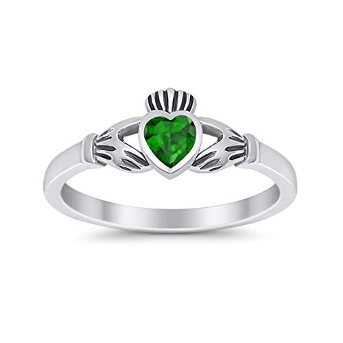 Irish Claddagh Simulated Green Emerald CZ Heart Promise Ring 925 Sterling Silver