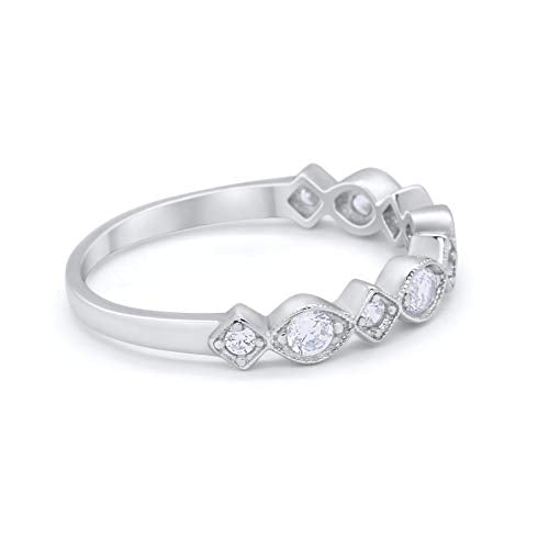 Half Eternity Art Deco Engagement Ring Simulated CZ 925 Sterling Silver