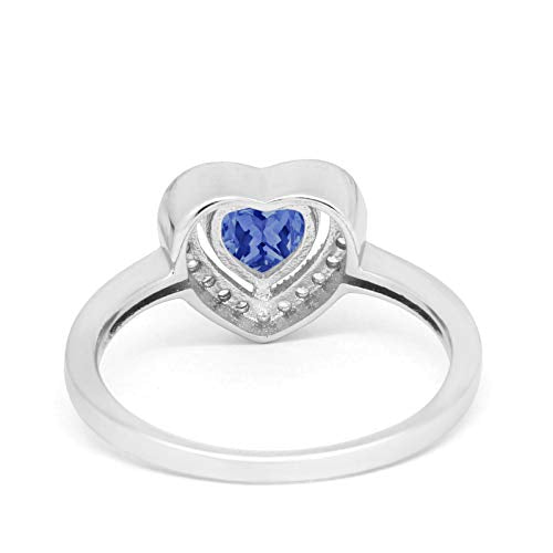 Halo Dazzling Heart Promise Ring Simulated Tanzanite CZ 925 Sterling Silver