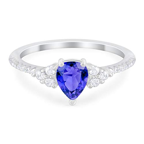 Teardrop Engagement Ring Simulated Tanzanite CZ 925 Sterling Silver