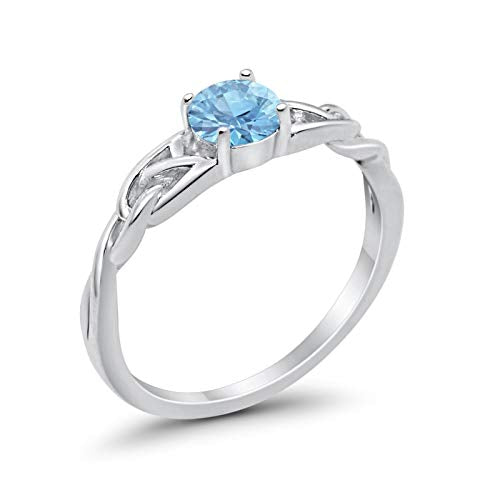 Celtic Trinity Engagement Ring Simulated Aquamarine CZ 925 Sterling Silver