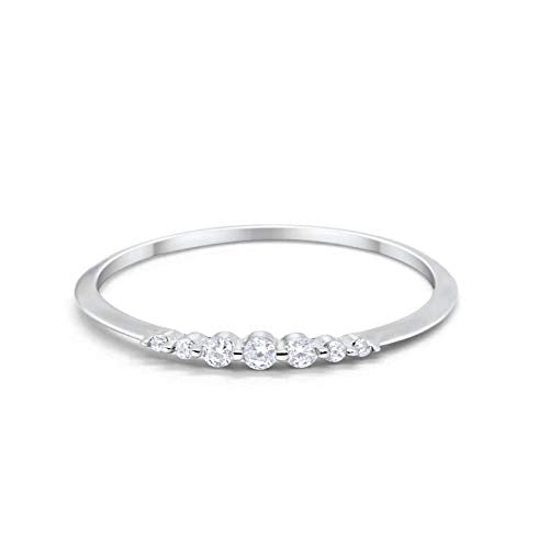 Half Eternity Wedding Ring Round Simulated Cubic Zirconia 925 Sterling Silver