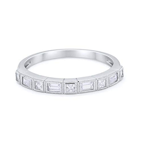 Half Eternity Wedding Ring Princess Cut Simulated Cubic Zirconia 925 Sterling Silver