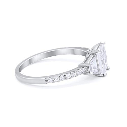 Three Stone Wedding Ring Emerald Cut Simulated CZ 925 Sterling Silver