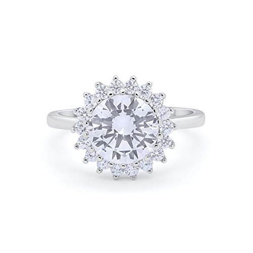 Halo Floral Wedding Ring Simulated CZ 925 Sterling Silver