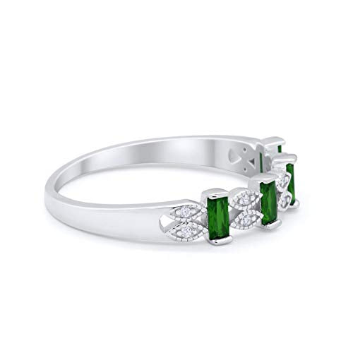 Eternity Baguette Ring Simulated Green Emerald CZ 925 Sterling Silver