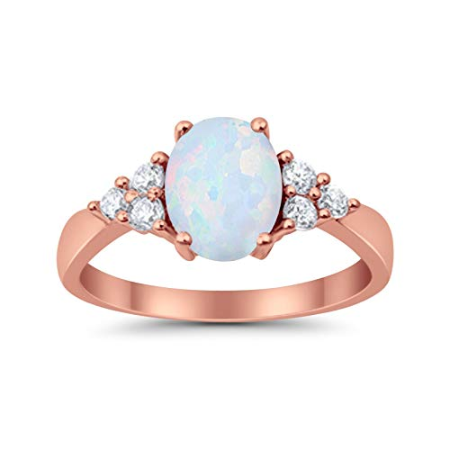 Accent Rose Tone, Lab Created White Opal Wedding Ring 925 Sterling Silver