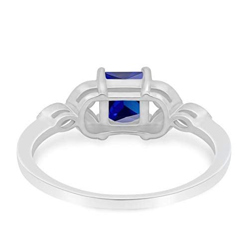Art Deco Design Engagement Ring Princess Cut Simulated Blue Sapphire CZ 925 Sterlig Silver