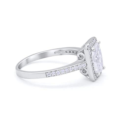 Wedding Bridal Ring Baguette Simulated Cubic Zirconia 925 Sterling Silver