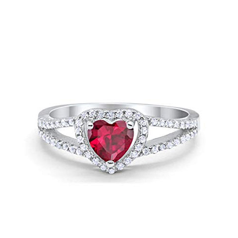 Heart Promise Ring Round Simulated Ruby CZ 925 Sterling Silver
