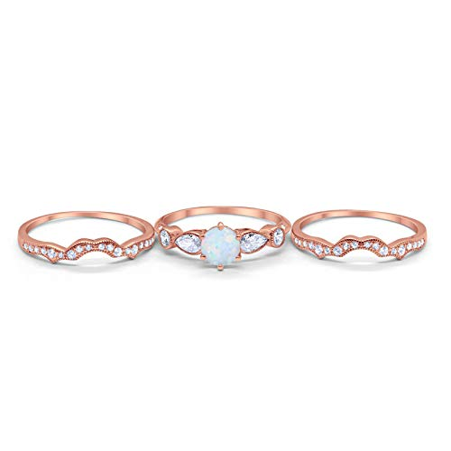 Three Piece Bridal Wedding Promise Ring Rose Tone, Lab White Opal 925 Sterling Silver