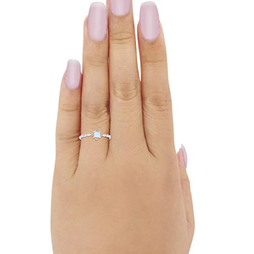 Petite Dainty Wedding Ring Lab Created White Opal 925 Sterling Silver