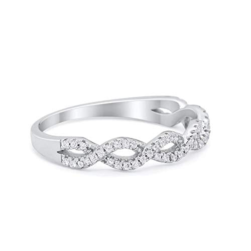 Half Eternity Infinity Twisted Ring Simulated Cubic Zirconia 925 Sterling Silver