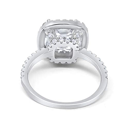 Halo Engagement Ring Accent Cushion Simulated Cubic Zirconia 925 Sterling Silver