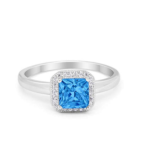 Halo Engagement Ring Princess Cut Simulated Blue Topaz CZ 925 Sterling Silver