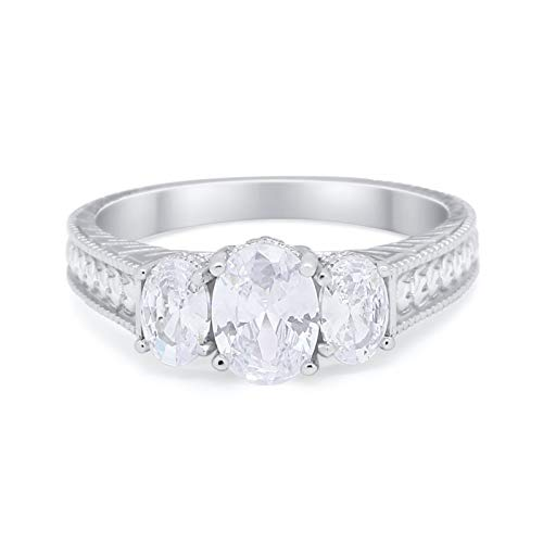 Oval Three Stone Wedding Ring Simulated Cubic Zirconia 925 Sterling Silver