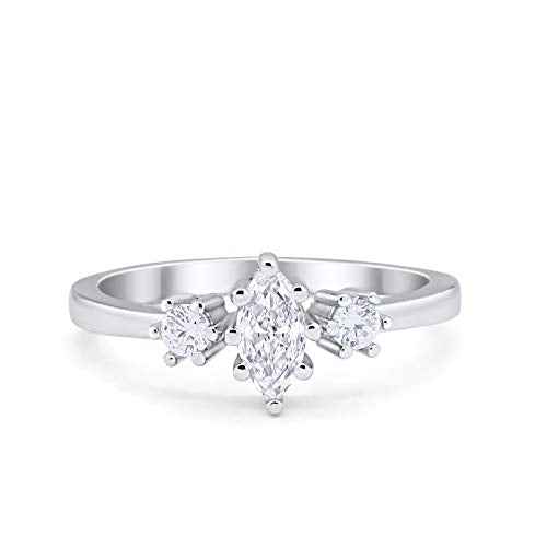 Three Stone Engagement Ring Marquise Round Simulated CZ 925 Sterling Silver