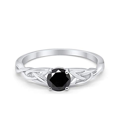 Celtic Trinity Engagement Ring Simulated Black CZ Solid 925 Sterling Silver