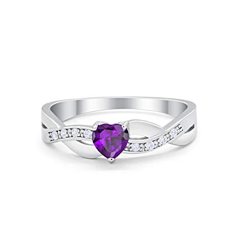 Accent Heart Shape Wedding Ring Simulated Amethyst CZ 925 Sterling Silver