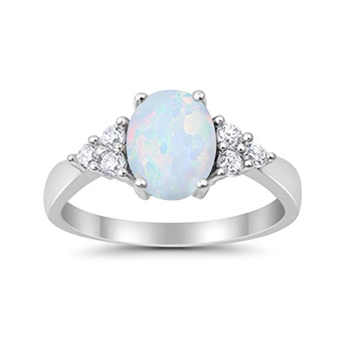 Accent Lab Created White Opal Wedding Ring 925 Sterling Silver