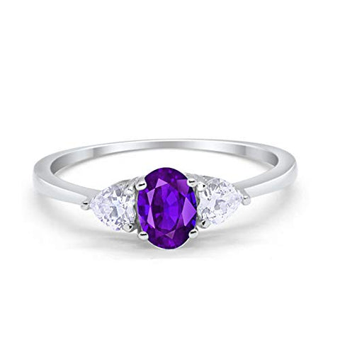 3-Stone Fashion Promise Ring Oval Simulated Amethyst CZ 925 Sterling Silver