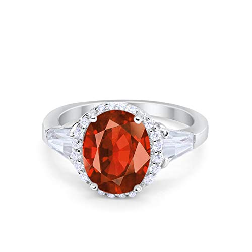 Cocktail Halo Wedding Ring Simulated Garnet CZ 925 Sterling Silver