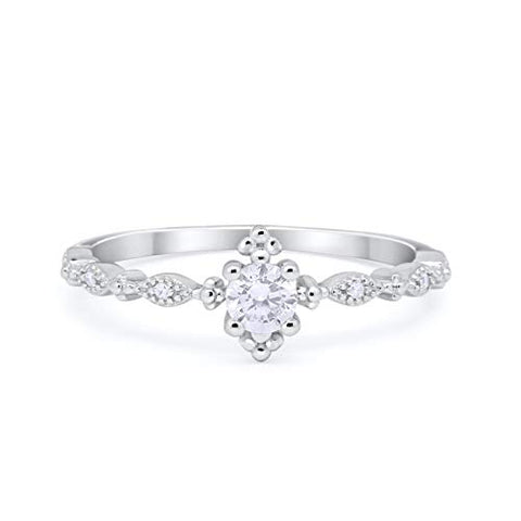Petite Dainty Ring Round Simulated Cubic Zirconia 925 Sterling Silver