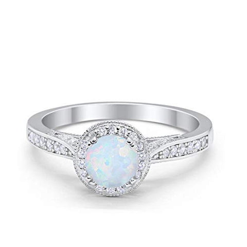 Halo Engagement Promise Ring Round Lab White Opal 925 Sterling Silver