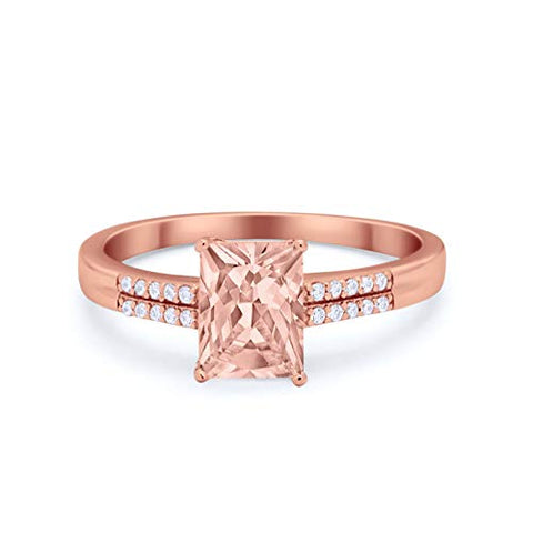 Emerald Cut Wedding Ring Rose Tone, Simulated Morganite Cubic Zirconia 925 Sterling Silver