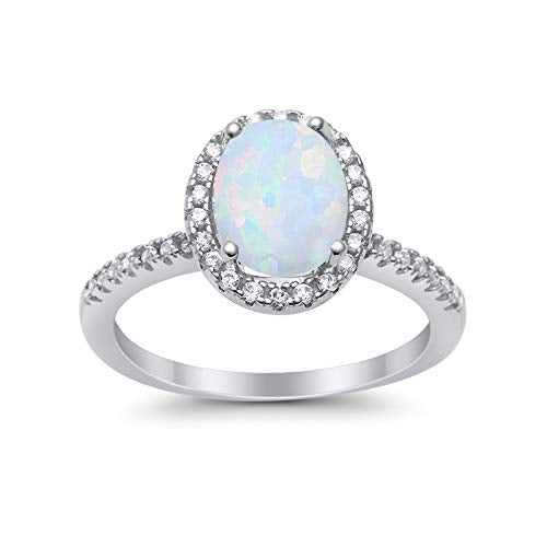 Accent Halo Wedding Ring Lab Created White Opal 925 Sterling Silver