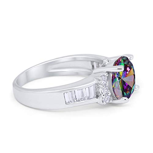 Engagement Baguette Stone Ring Simulated Rainbow CZ 925 Sterling Silver