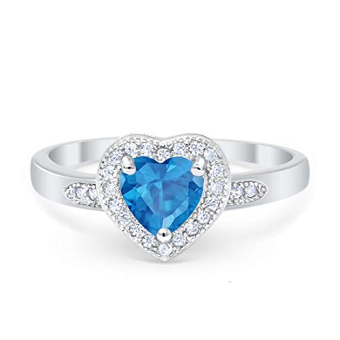 Halo Heart Promise Ring Round Simulated Blue Topaz CZ 925 Sterling Silver