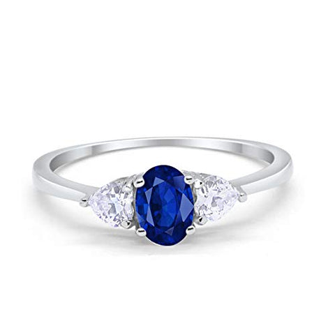 3-Stone Fashion Promise Ring Oval Simulated Blue Sapphire CZ 925 Sterling Silver