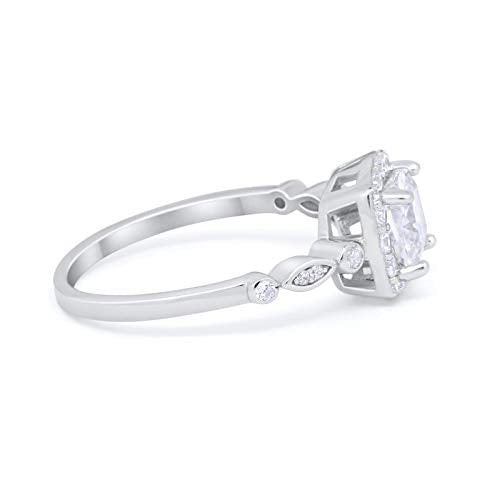 Halo Cushion Wedding Ring Bridal Simulated Cubic Zirconia 925 Sterling Silver